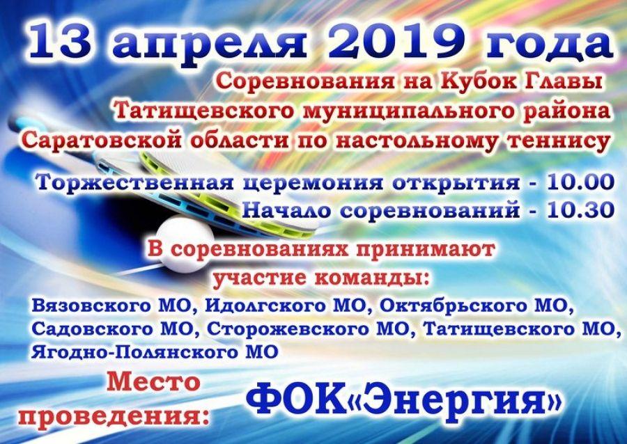 Соревнования на Кубок главы района по настольному теннису